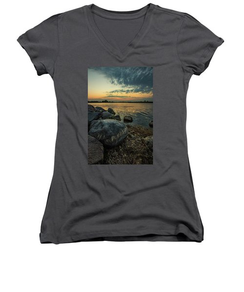 Women's V-Neck T-Shirt featuring the photograph Lake Louise Dusk  by Aaron J Groen