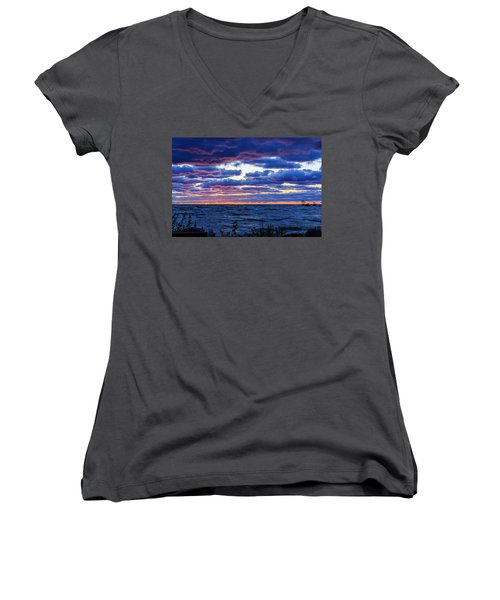 Lake Michigan Windy Sunrise Women's V-Neck (Athletic Fit)