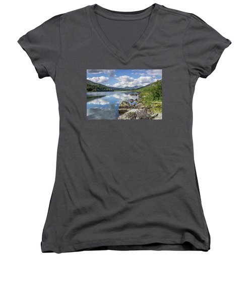 Women's V-Neck T-Shirt (Junior Cut) featuring the photograph Lake Mymbyr And Snowdon by Ian Mitchell