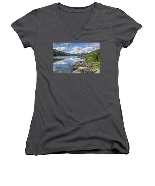 Lake Mymbyr And Snowdon Women's V-Neck T-Shirt