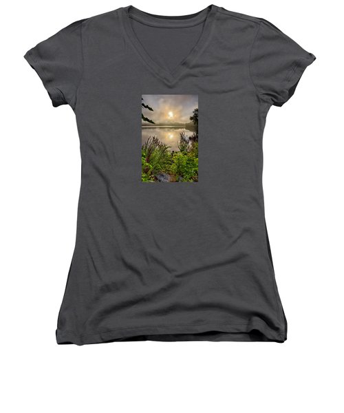 Lake Pentucket Sunrise, Haverhill, Ma Women's V-Neck T-Shirt (Junior Cut) by Betty Denise