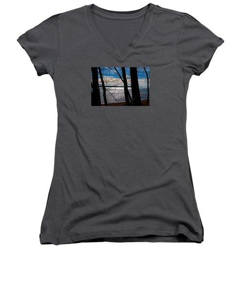 Women's V-Neck T-Shirt (Junior Cut) featuring the photograph Lake Romance by Valentino Visentini