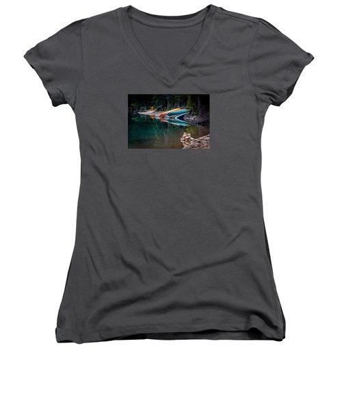 Kayaks At Rest Women's V-Neck T-Shirt (Junior Cut) by Menachem Ganon