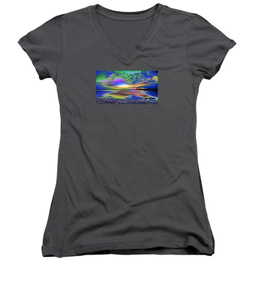 Lake Sunset Abstract Women's V-Neck (Athletic Fit)
