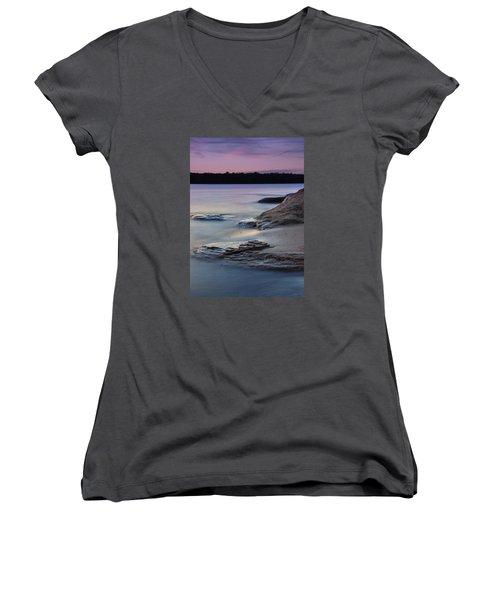 Lake Sunset V Women's V-Neck T-Shirt (Junior Cut)