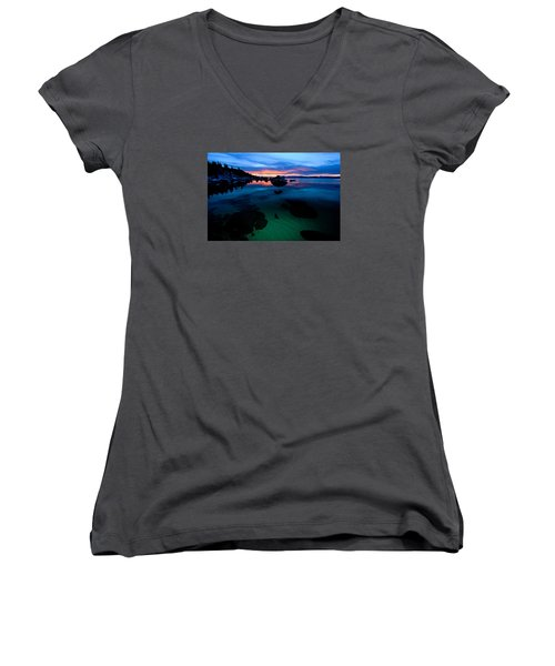 Lake Tahoe Clarity At Sundown Women's V-Neck (Athletic Fit)