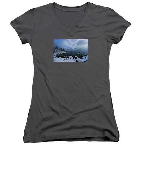 Lake Tahoe Snow Day Women's V-Neck T-Shirt
