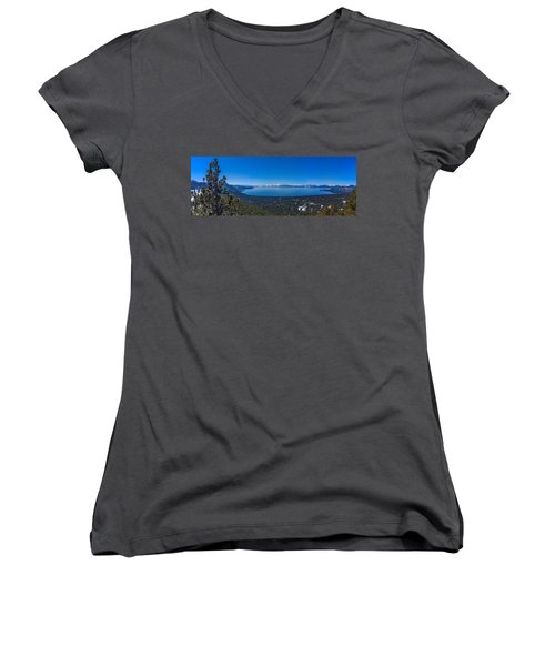 Lake Tahoe Spring Overlook Panoramic Women's V-Neck T-Shirt (Junior Cut) by Scott McGuire