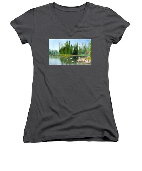 Women's V-Neck T-Shirt (Junior Cut) featuring the painting Lake View 1 by Yoshiko Mishina