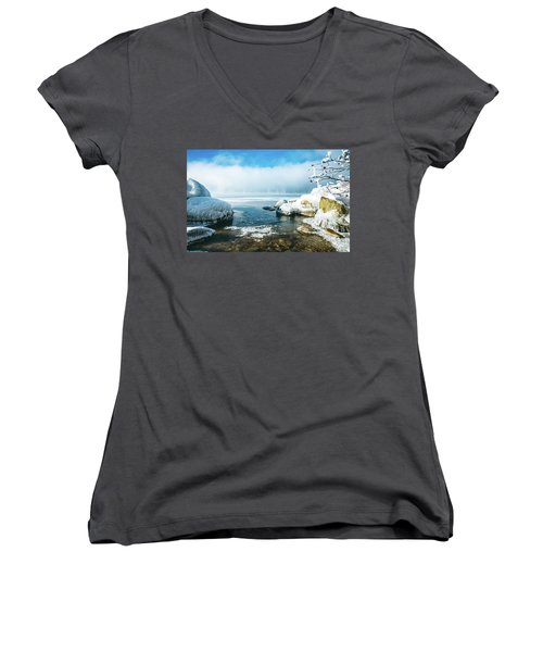 Women's V-Neck T-Shirt (Junior Cut) featuring the photograph Lake Winnisquam by Robert Clifford