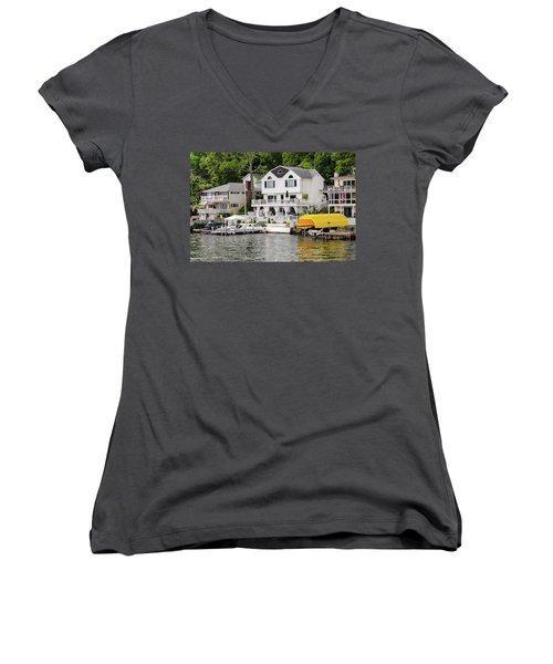 Lakefront Living Hopatcong Women's V-Neck T-Shirt (Junior Cut) by Maureen E Ritter