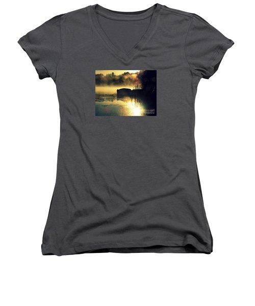 Women's V-Neck T-Shirt (Junior Cut) featuring the photograph Lakeshore by France Laliberte