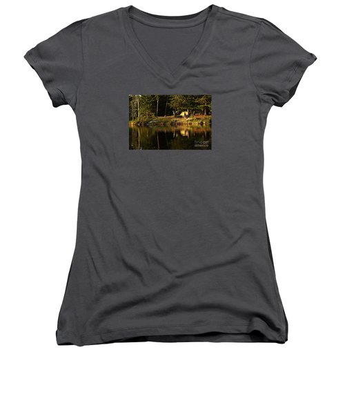 Women's V-Neck T-Shirt (Junior Cut) featuring the photograph Lakeside Campsite by Larry Ricker
