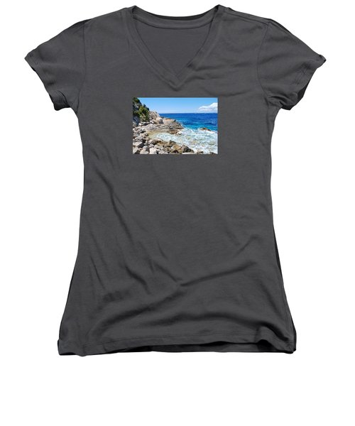 Lakka Coastline On Paxos Women's V-Neck T-Shirt