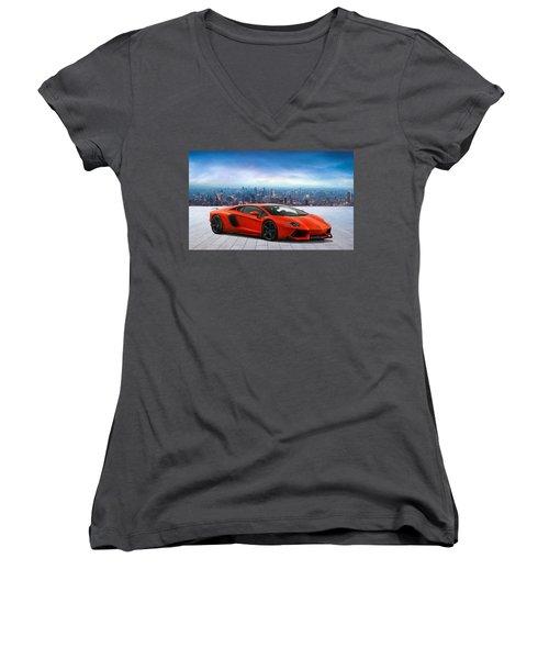 Lambo Cityscape Women's V-Neck T-Shirt (Junior Cut) by Peter Chilelli