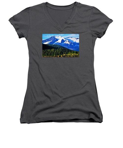 Earth Women's V-Neck T-Shirt (Junior Cut) by Martin Cline