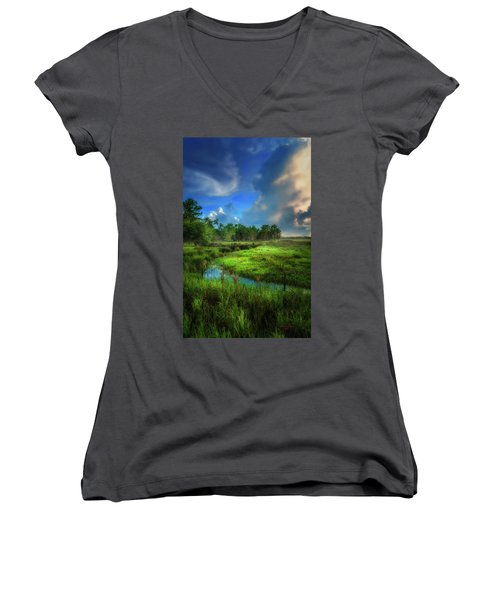 Women's V-Neck T-Shirt (Junior Cut) featuring the photograph Land Of Milk And Honey by Marvin Spates