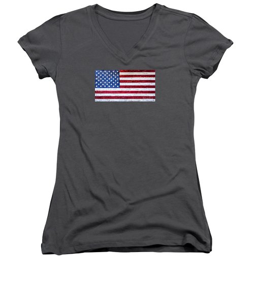 Land Of The Free Women's V-Neck T-Shirt (Junior Cut) by David Millenheft