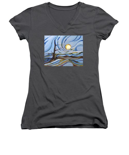 Women's V-Neck T-Shirt (Junior Cut) featuring the painting Land Of The Midnight Sun by Pat Purdy