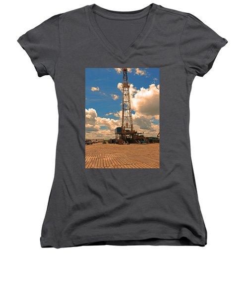Land Oil Rig Women's V-Neck T-Shirt (Junior Cut) by Ronald Olivier