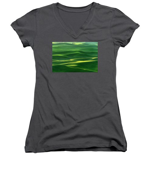 Land Waves Women's V-Neck T-Shirt (Junior Cut) by Ryan Manuel