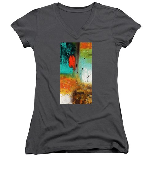 Women's V-Neck T-Shirt (Junior Cut) featuring the painting Landmarks by Carmen Guedez