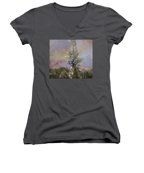Landscape . I Was Lucky Today. Women's V-Neck T-Shirt
