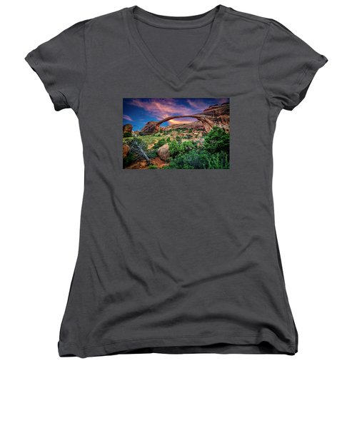 Landscape Arch At Sunset Women's V-Neck