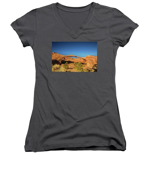 Landscape Arch Sunrise Women's V-Neck (Athletic Fit)