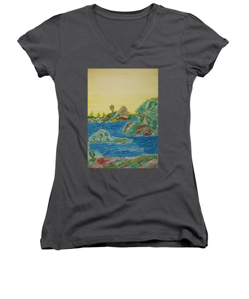 Landscape. Fantasy 28. Women's V-Neck T-Shirt
