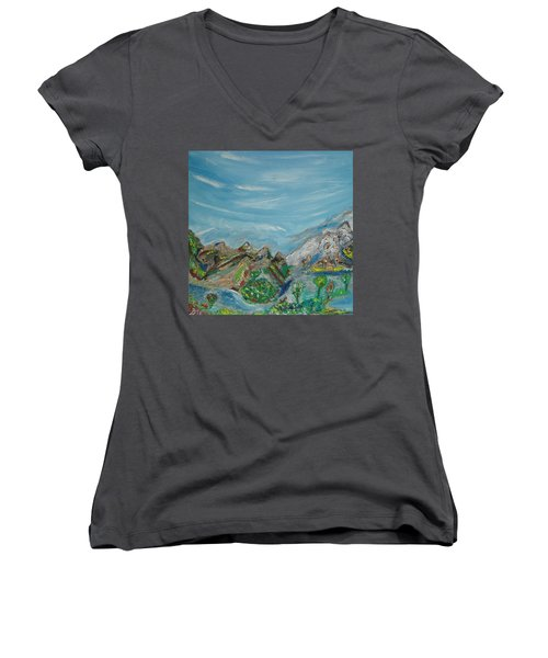 Landscape. Imagination. Women's V-Neck T-Shirt