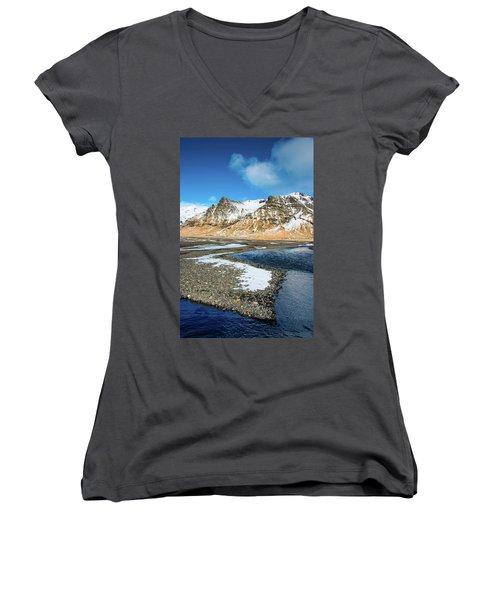 Landscape Sudurland South Iceland Women's V-Neck T-Shirt (Junior Cut) by Matthias Hauser