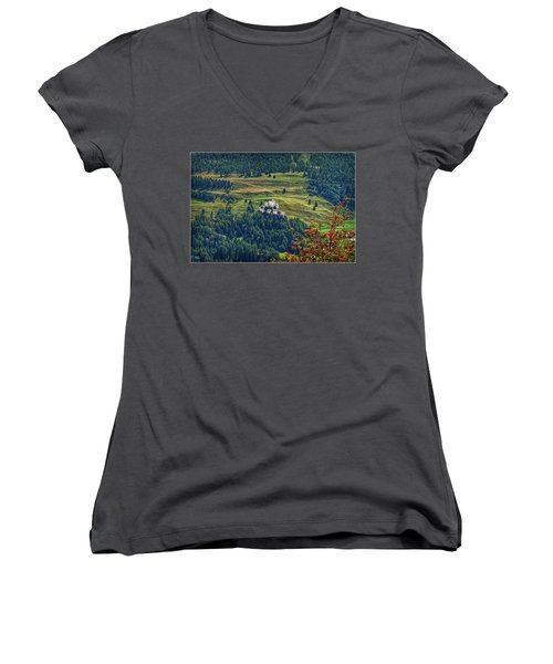 Women's V-Neck T-Shirt featuring the photograph Landscape With Castle by Hanny Heim