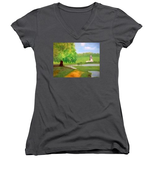 Landscape With Luxuriant Tree And Folly Women's V-Neck (Athletic Fit)