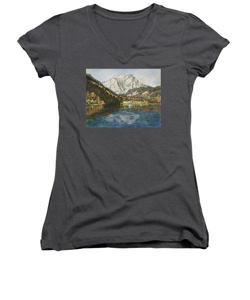 Langbathsee Austria Women's V-Neck T-Shirt (Junior Cut) by Alexandra Maria Ethlyn Cheshire