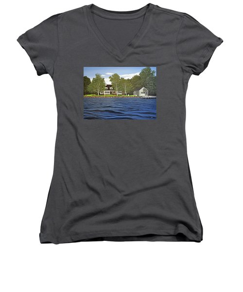 Women's V-Neck T-Shirt (Junior Cut) featuring the painting Langer Summer Home Lake Simcoe by Kenneth M Kirsch