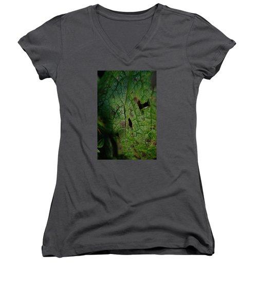 Languid Leaf Women's V-Neck T-Shirt (Junior Cut) by Adria Trail