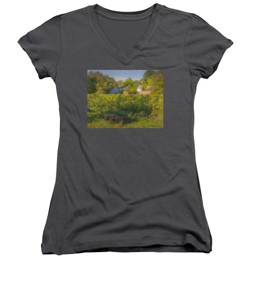 Langwater Farm Sunflowers And Barns Women's V-Neck