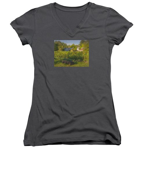 Langwater Farm Sunflowers And Barns Women's V-Neck T-Shirt
