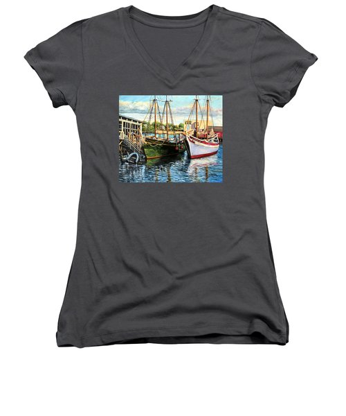 Lannon And Ardelle Gloucester Ma Women's V-Neck T-Shirt (Junior Cut) by Eileen Patten Oliver