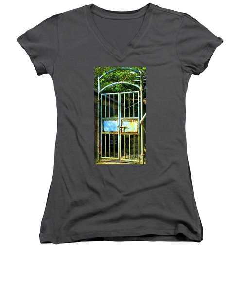 Women's V-Neck T-Shirt (Junior Cut) featuring the photograph Lantau Island 48 by Randall Weidner