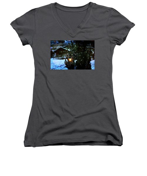 Lantern In The Woods Women's V-Neck T-Shirt (Junior Cut) by Vittorio Chiampan