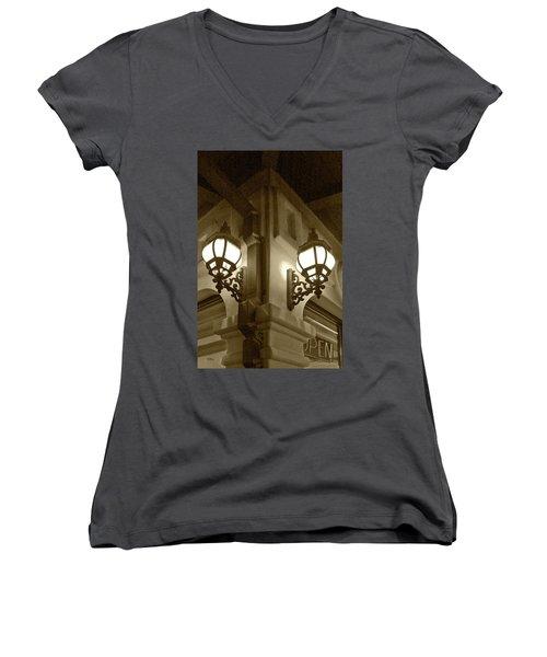 Lanterns - Night In The City - In Sepia Women's V-Neck T-Shirt (Junior Cut) by Ben and Raisa Gertsberg
