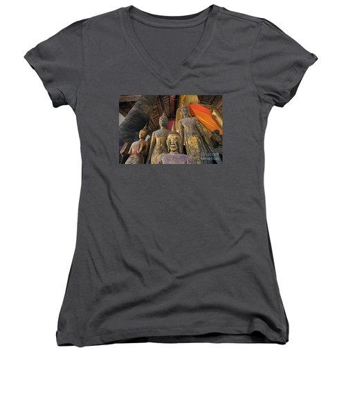 Women's V-Neck T-Shirt (Junior Cut) featuring the photograph Laos_d186 by Craig Lovell