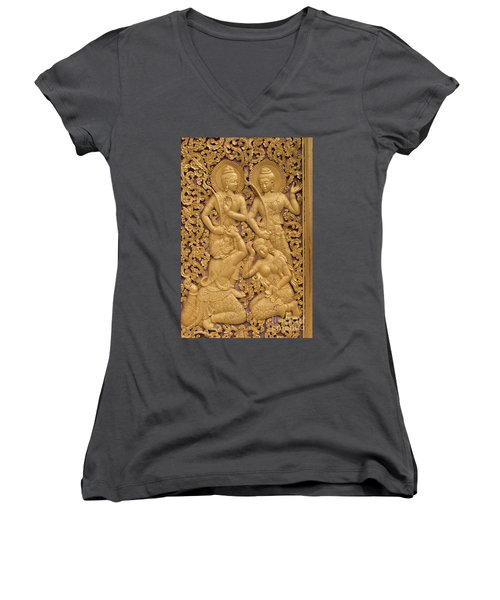 Laos_d59 Women's V-Neck T-Shirt