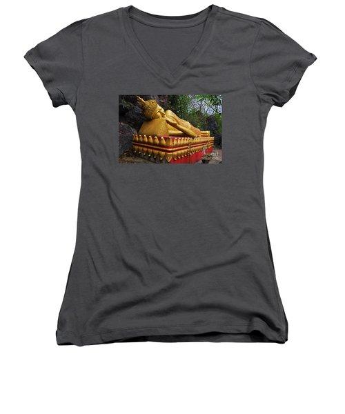 Laos_d602 Women's V-Neck T-Shirt (Junior Cut) by Craig Lovell