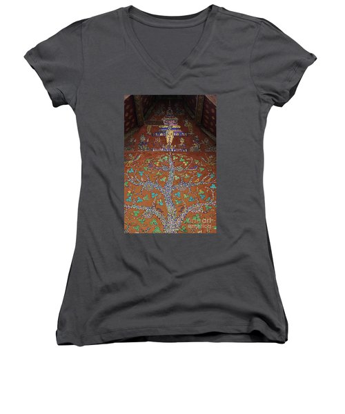 Laos_d92 Women's V-Neck T-Shirt (Junior Cut) by Craig Lovell