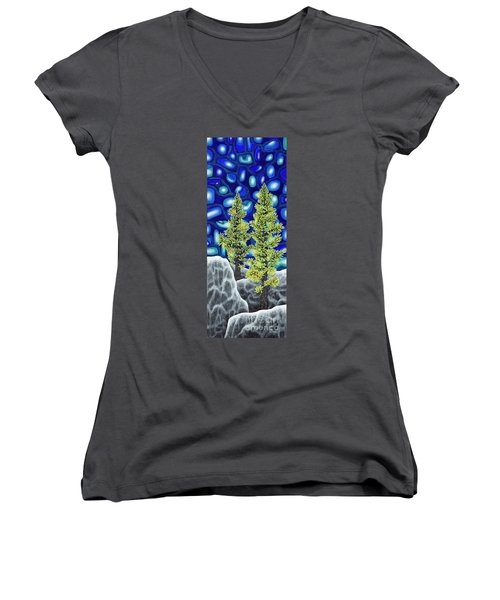 Women's V-Neck T-Shirt (Junior Cut) featuring the painting Larch Dreams 1 by Rebecca Parker