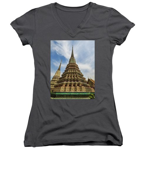 Large Colorful Stupa At Wat Pho Women's V-Neck (Athletic Fit)