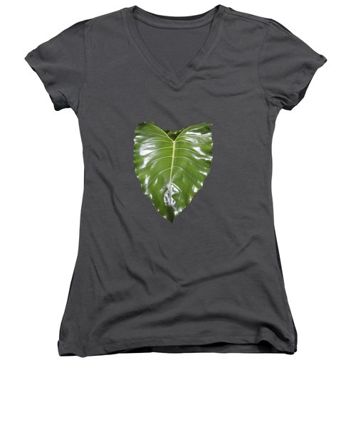 Large Leaf Transparency Women's V-Neck T-Shirt